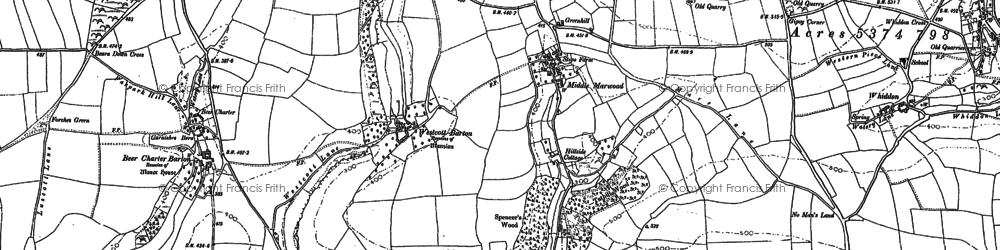 Old map of Westcott Barton in 1886