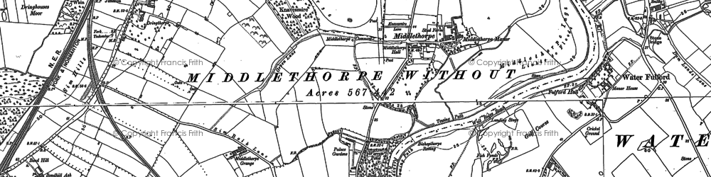Old map of Middlethorpe in 1890