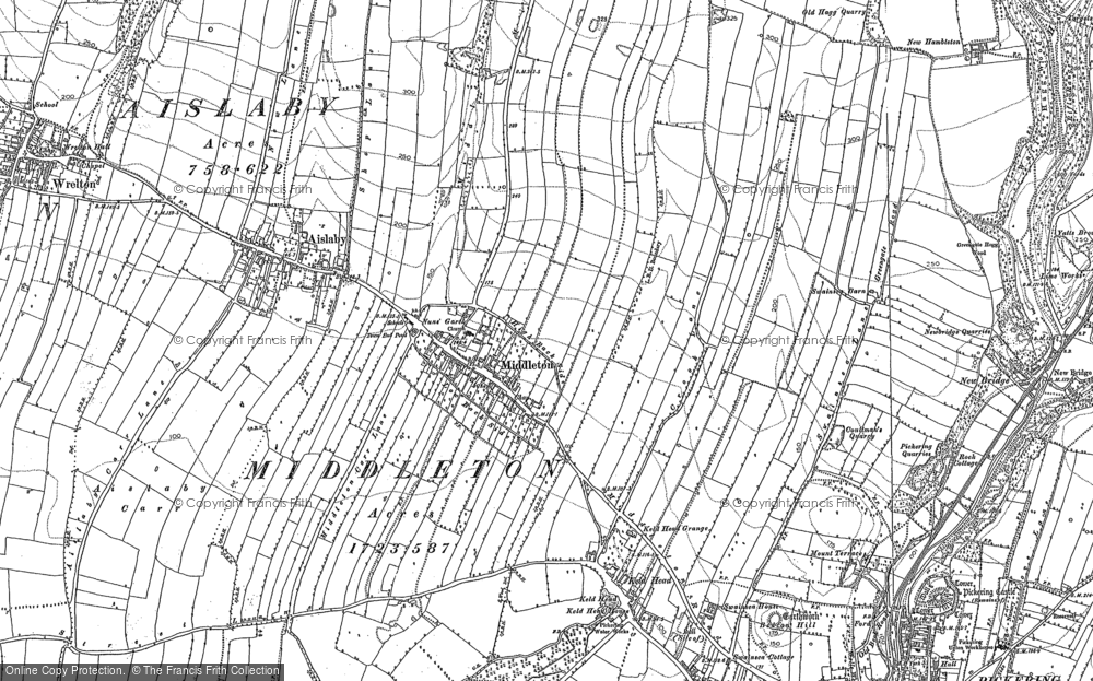 Old Map of Historic Map covering Aislaby Carr in 1890
