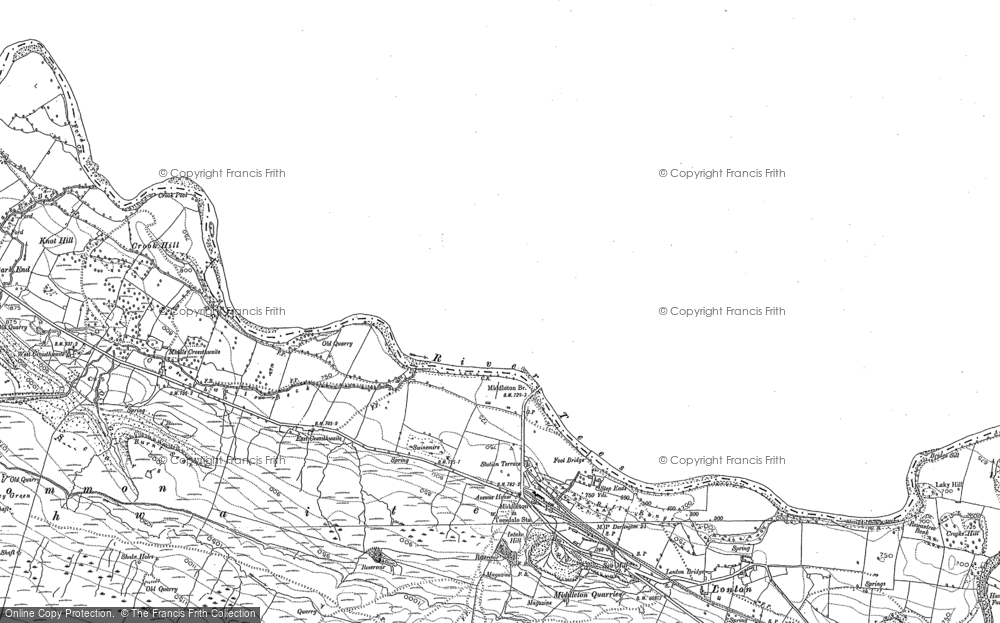Old Map of Historic Map covering Aukside in 1892
