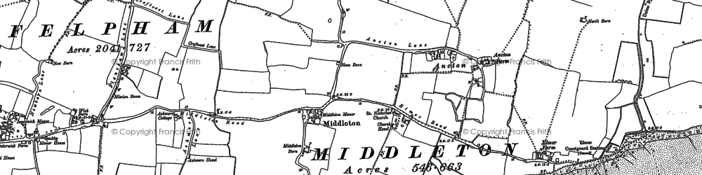 Old map of Middleton-on-Sea in 1910