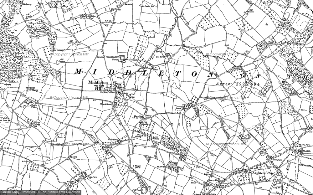 Old Map of Historic Map covering Wood Sutton in 1885