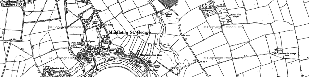 Old map of Middleton One Row in 1896