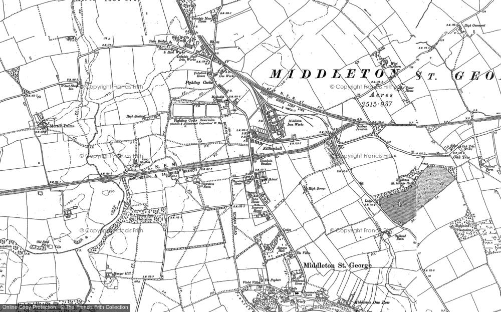 Old Map of Middleton St George, 1913 in 1913