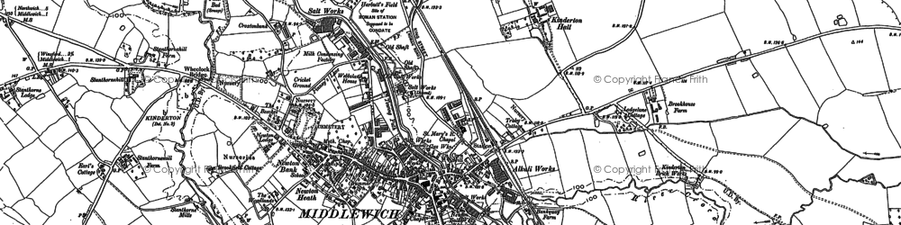Old map of Middlewich in 1897