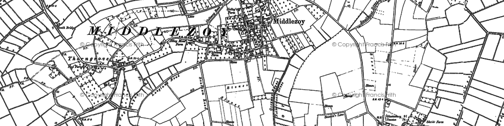 Old map of Middlezoy in 1885