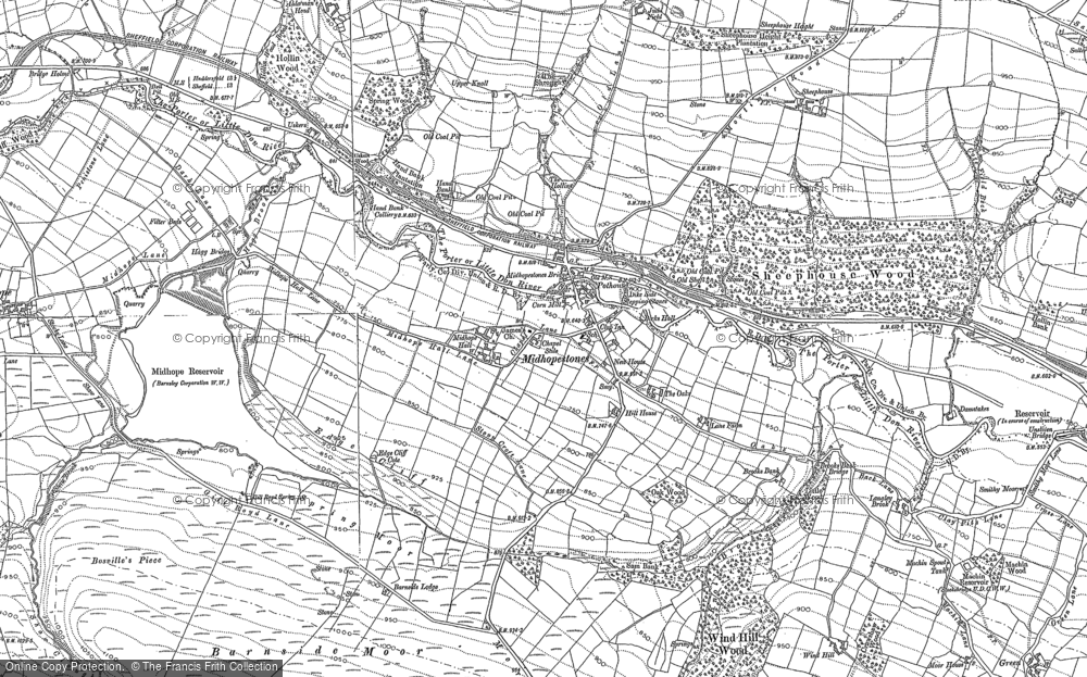 Old Map of Midhopestones, 1891 in 1891