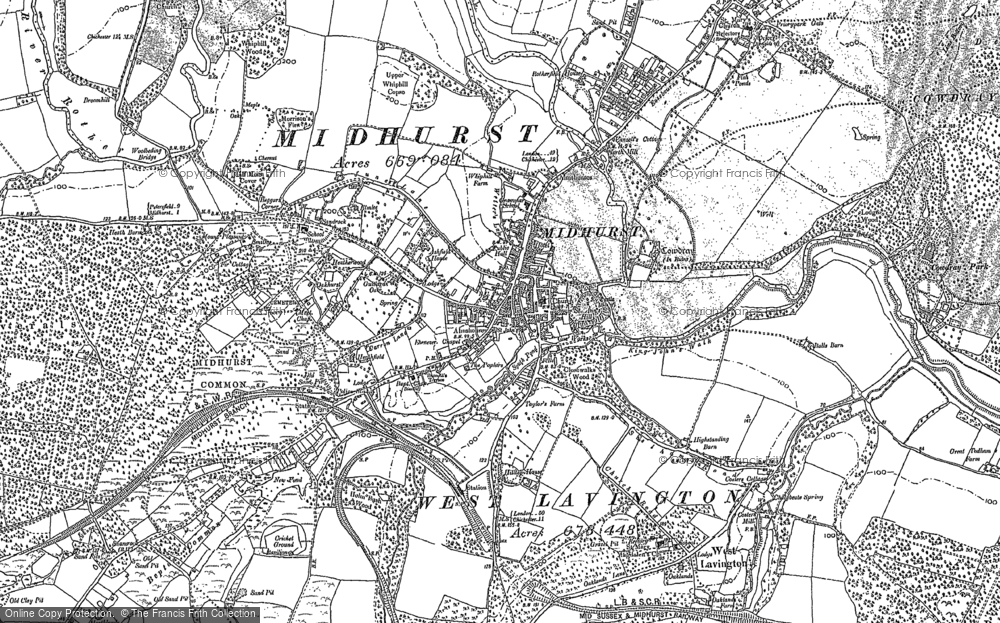Old Map of Midhurst, 1895 - 1896 in 1895
