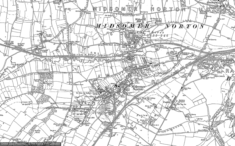 Old Map of Midsomer Norton, 1884 in 1884