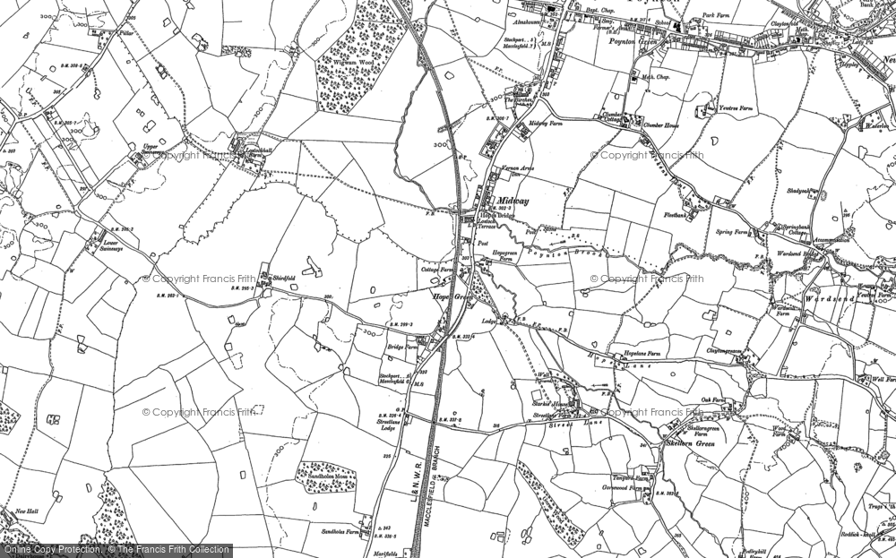 Old Map of Historic Map covering Adlington Hall in 1896