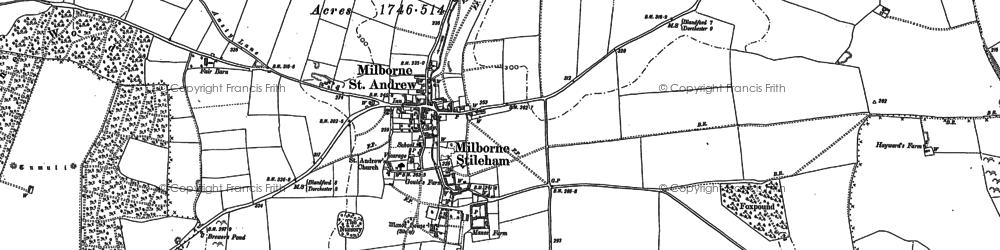 Old map of Milborne St Andrew in 1887