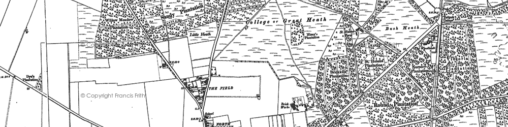 Old map of Mildenhall in 1882