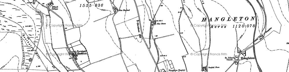Old map of Mile Oak in 1896