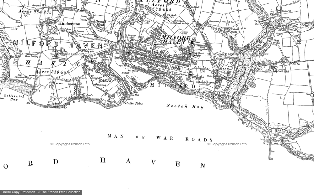 OLD ORDNANCE SURVEY MAP MILFORD HAVEN 1909 SKOMER ISLAND WALWYN CASTLE ROCH