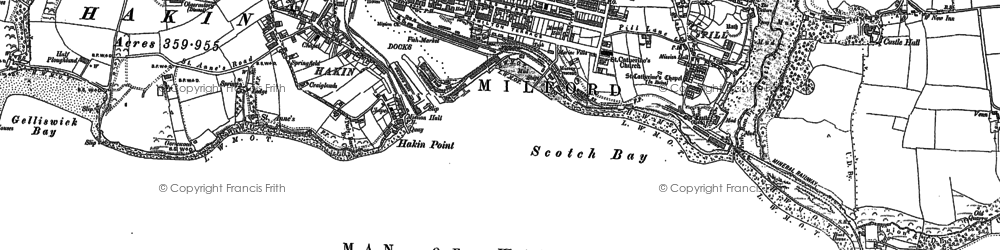 Old map of Milford Haven in 1906