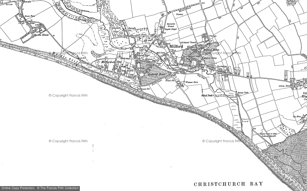 Old Map of Milford on Sea, 1907 in 1907