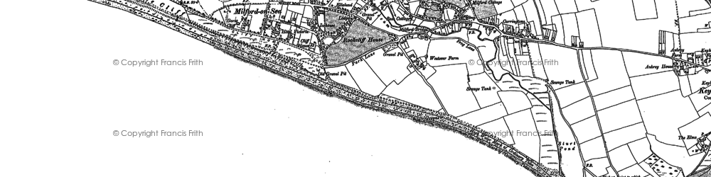 Old map of Milford on Sea in 1907
