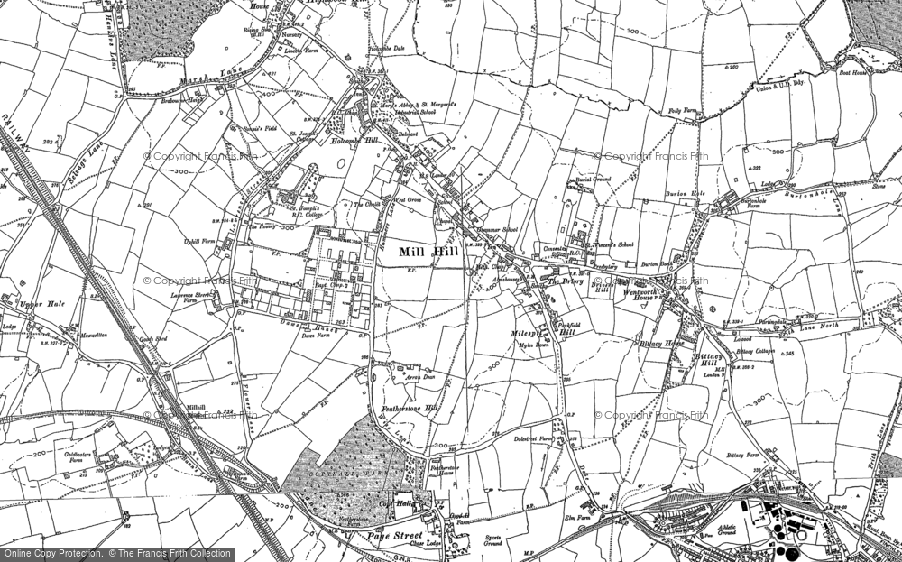 Old Map of Mill Hill, 1899 - 1945 in 1899