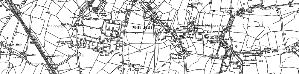 Old map of Mill Hill in 1899