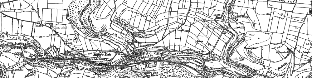 Old map of Miller's Dale in 1879