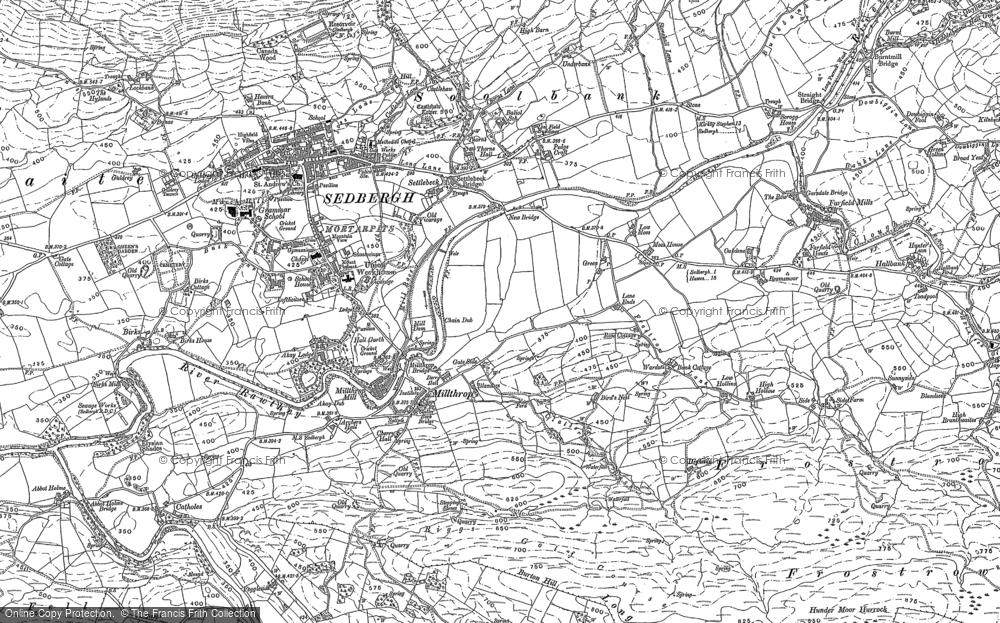 Old Map of Historic Map covering Lane Ends in 1907