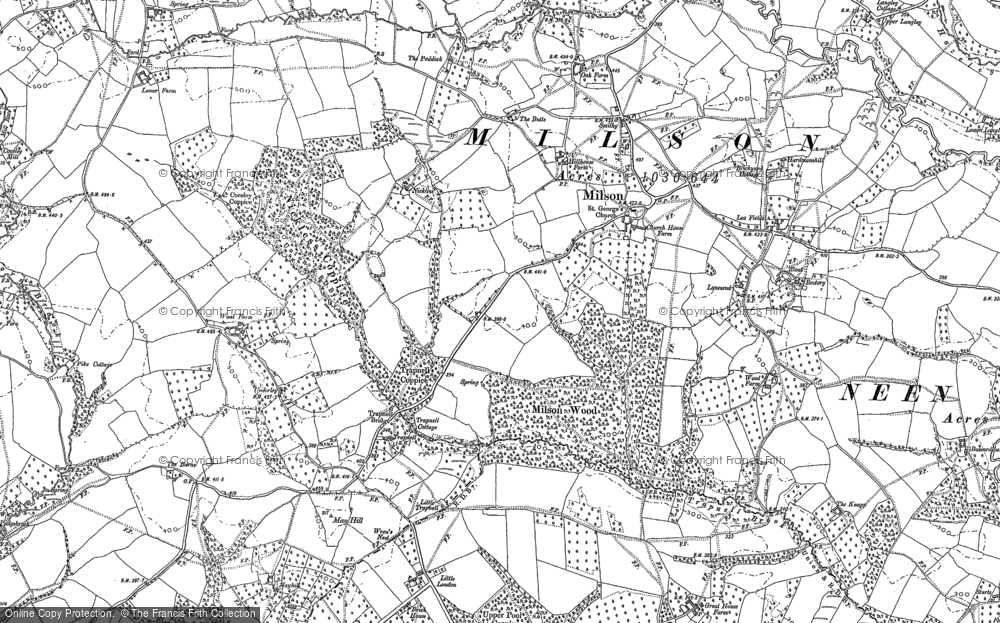 Old Map of Historic Map covering Lea Fields in 1883