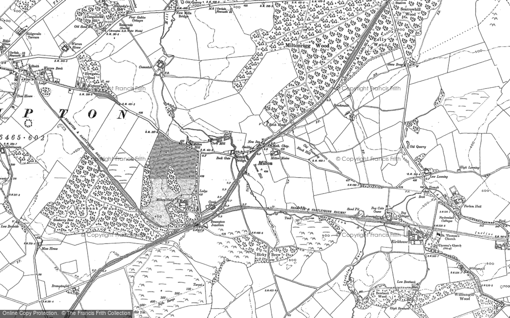 Old Map of Historic Map covering Wreay in 1899