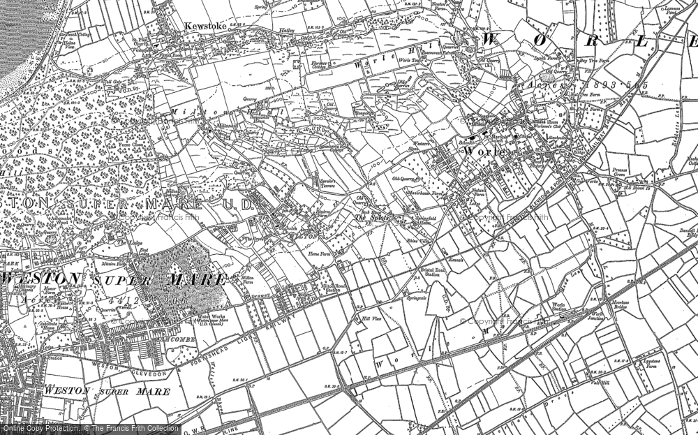 Old Map of Historic Map covering Airfield (disused) in 1902
