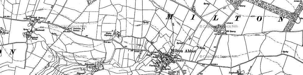Old map of Milton Abbot in 1882