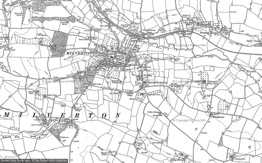 Map of Milverton, 1887