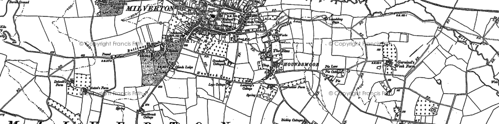Old map of Milverton in 1887