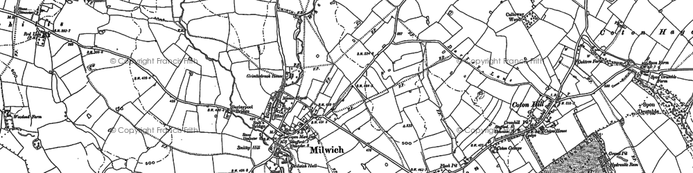 Old map of Wheatlow Brook in 1881