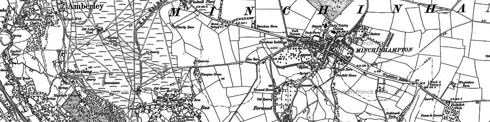 Old map of Minchinhampton in 1882