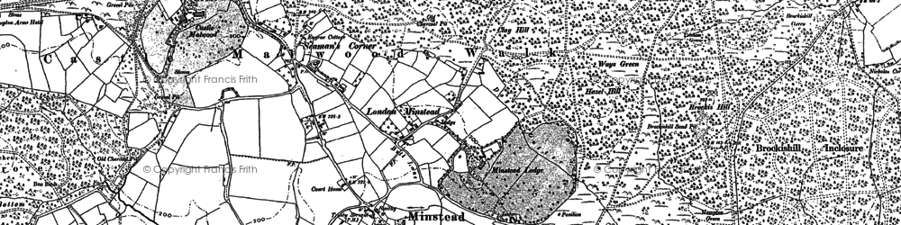 Old map of Minstead in 1895