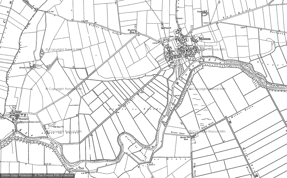 Old Map of Historic Map covering Austerfield Drain in 1898