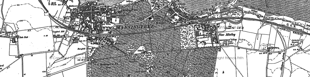 Old map of Mistley in 1896