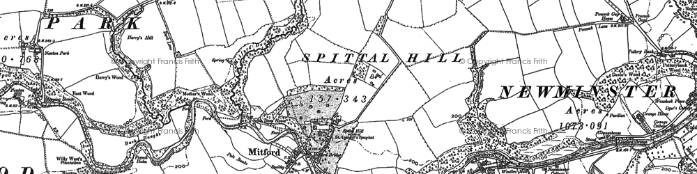 Old map of Mitford in 1896