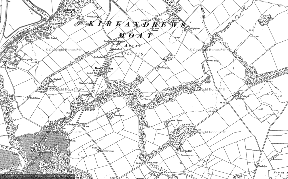 Old Map of Historic Map covering Woodhouselees in 1948
