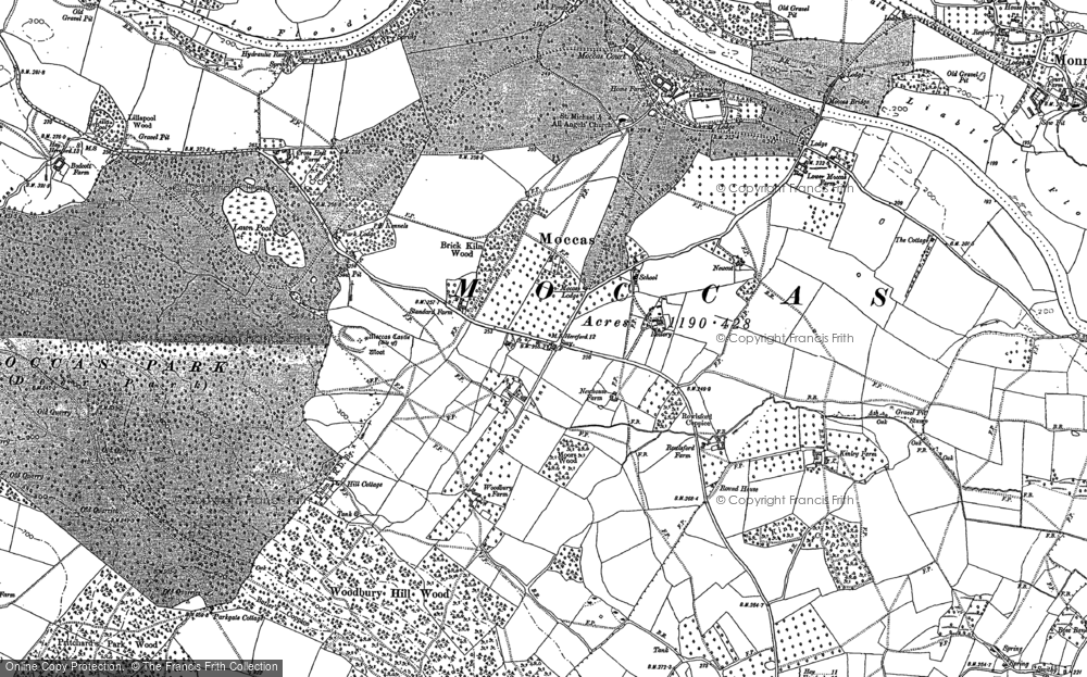 Old Map of Historic Map covering Woodbury Hill Wood in 1884