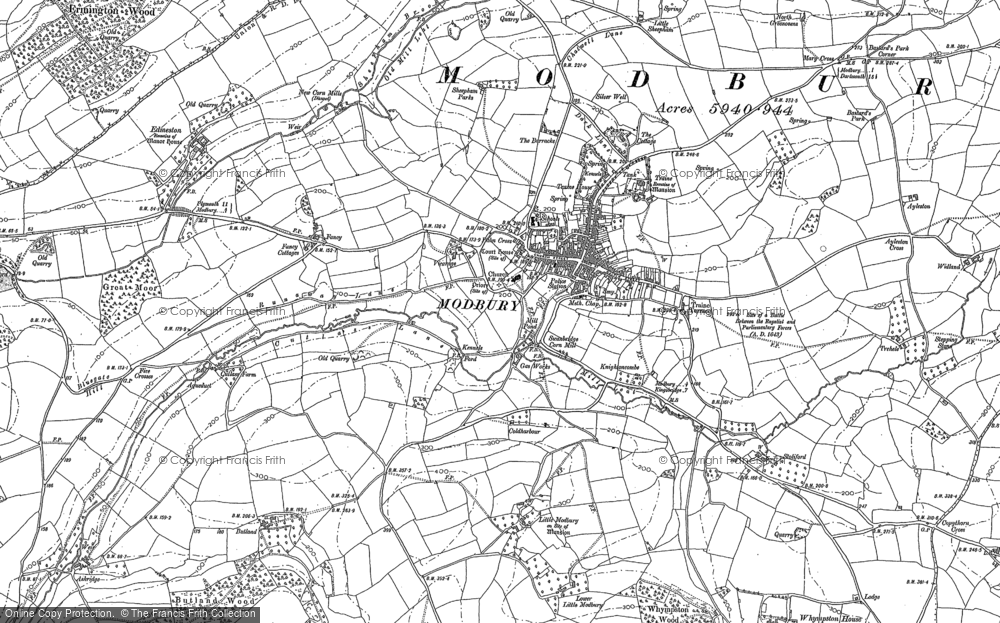 Old Map of Historic Map covering Ayleston Cross in 1886