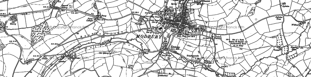 Old map of Modbury in 1886