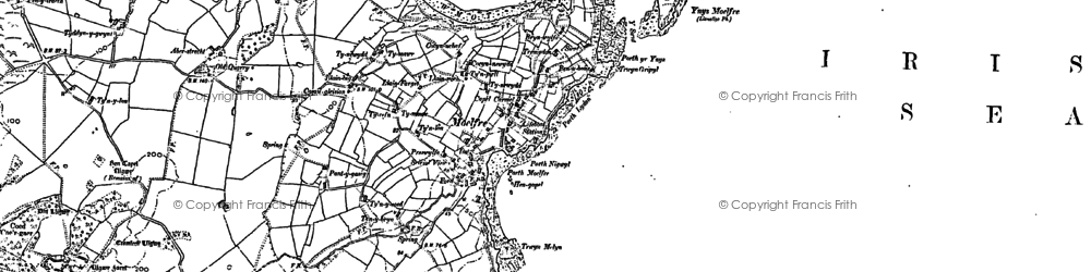Old map of Ynys Moelfre in 1887