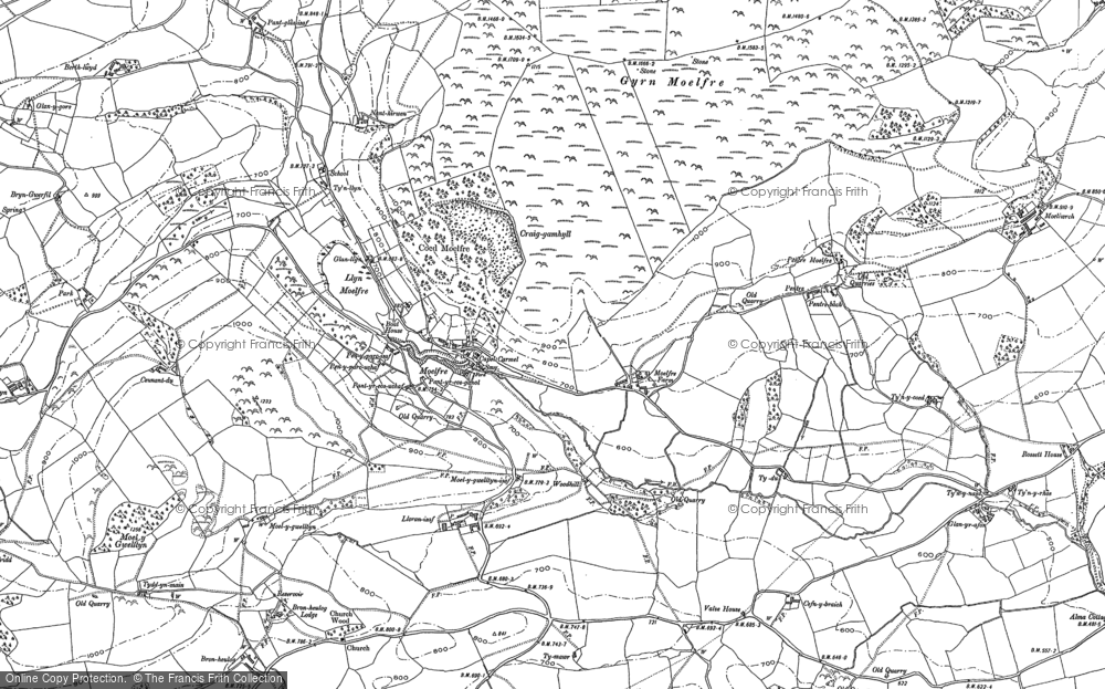 Old Map of Historic Map covering Lawnt, The in 1910