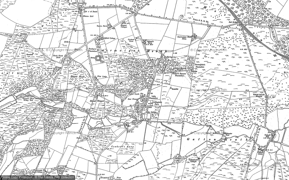 Old Map of Historic Map covering Tinker's Barrow in 1886