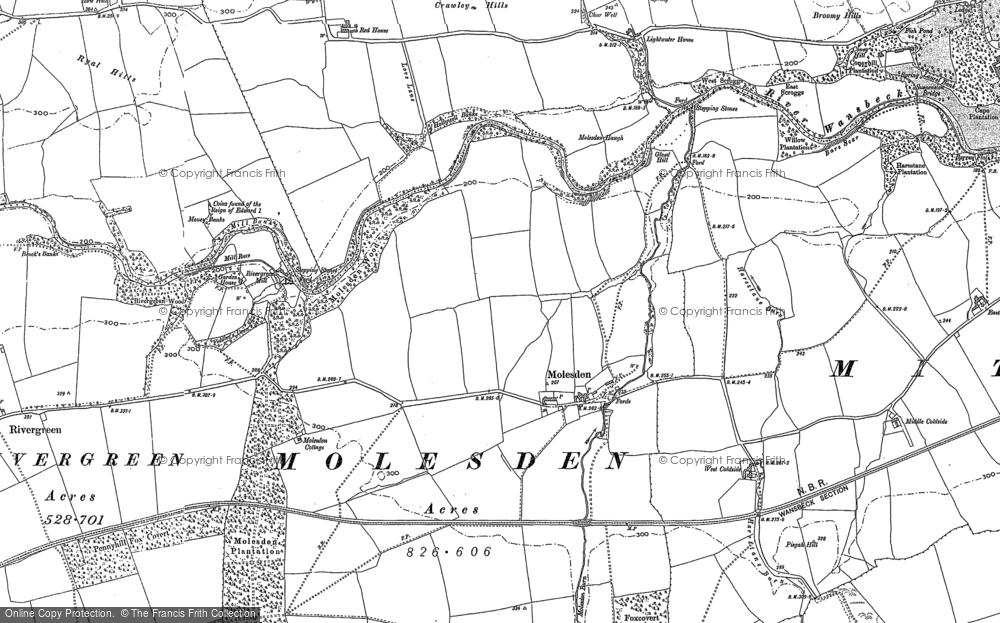 Old Map of Molesden, 1896 in 1896