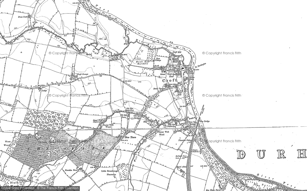Old Map of Historic Map covering Croft-on-Tees in 1892