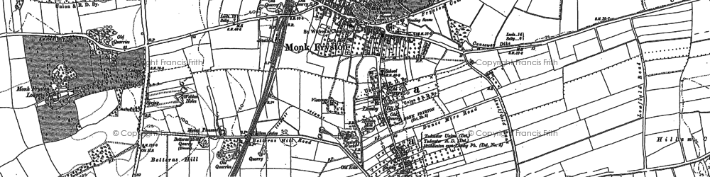 Old map of Monk Fryston in 1889