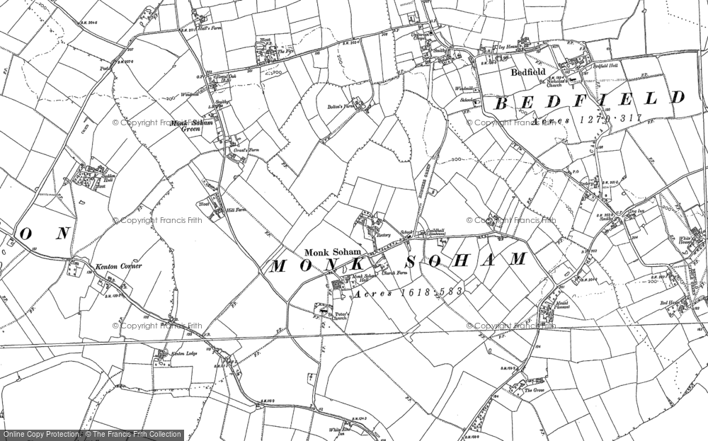Old Map of Historic Map covering Woodcroft Hall in 1884