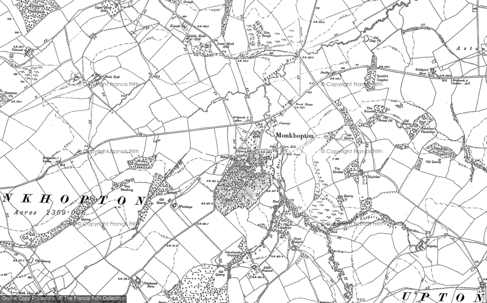 Old Map of Historic Map covering Woolshope in 1882