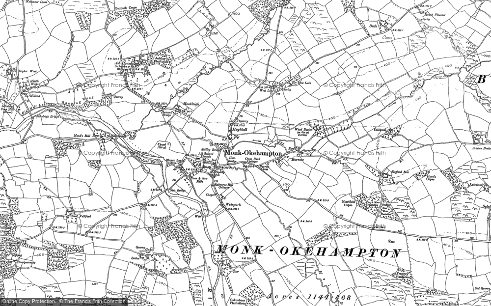 Old Map of Historic Map covering Wood Barton in 1885